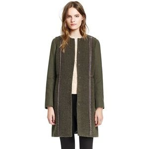 Tory Burch 'Heather' Collarless Wool Coat